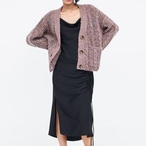 ZARA Knit Over-sized Cable Knit Cardigan Sweater